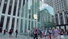 Apple Store cube in New York City - stock footage