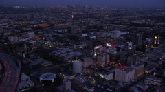 Aerial view of Los Angeles at Night - stock footage