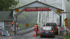 Dingman's Ferry Bridge and Toll Plaza 2 Stock Footage