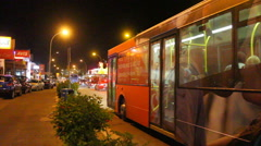 Bus travelling with passengers Stock Footage