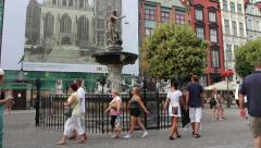 Neptune fountain in the old town - Gdansk, Poland Stock Footage