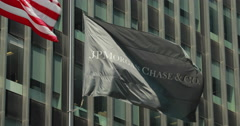 JP Morgan Chase New York City headquarter flag waving 4k Stock Footage