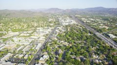 Aerial view of traffic in Silicon Valley California Stock Footage