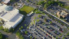Aerial view of carpark outside shopping Mall in LA Stock Footage