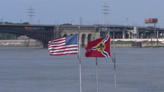 American and st louis flags fly mississippi river silent Stock Footage