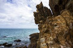 Coastal Cliffs on Koh Larn Beach. Stock Photos