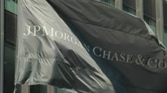 JP Morgan Chase New York City headquarter flag waving Arkistovideo