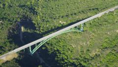 Aerial view of road bridge in California State Stock Footage