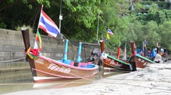 Longtail Boats in Phuket Thailand - stock footage