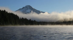 Fog and Clouds Over Trillium Lake with Mount Hood in Oregon at Sunrise 1080p Stock Footage