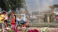 Rainbow over fountain - summer in the city. Gdynia, Poland Stock Footage
