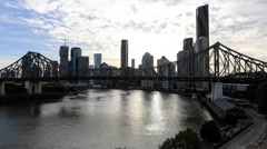 Brisbane Cityscape and Story Bridge HD Sunset Timelapse Stock Footage