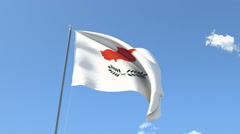 The flag of Cyprus Waving on the Wind. Stock Footage