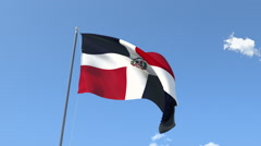 The flag of Dominican Republic Waving on the Wind. Stock Footage