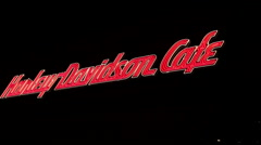 LAS VEGAS - HARLEY-DAVIDSON CAFÉ NEON SIGN Stock Footage