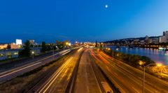 Time Lapse of Light Trails on Marquam Freeway Over Portland Oregon at Blue Hour - stock footage