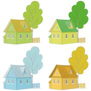 Cartoon colorful houses and trees Stock Illustration