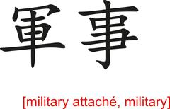 Chinese Sign for military attach�, military Stock Illustration
