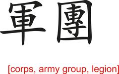 Chinese Sign for corps, army group, legion Stock Illustration