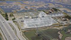Aerial view of electricity station Stock Footage