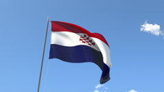 The flag of Croatia Waving on the Wind. Stock Footage