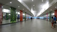 Singapore underground walkway to gardens on the bay Stock Photos