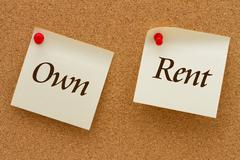 own versus rent - stock photo