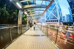 Moving car with blur light through city at night Stock Photos