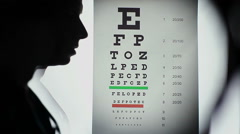Ophthalmologist performing eye examination, taking vision test - stock footage
