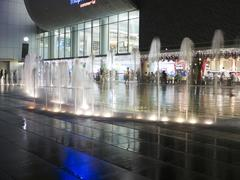 singapore vivo city shopping mall fountain at night - stock photo