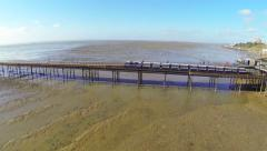 Southend pier train - tracking Stock Footage