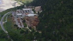 Aerial view of a logging depot Stock Footage