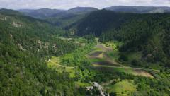 Aerial view of California State Park green forest - stock footage
