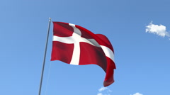 The flag of Denmark Waving on the Wind. Stock Footage