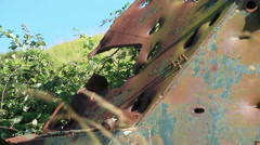 destroyed rusty military vehicle overgrown brambles 5 bullet holes - stock footage