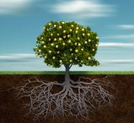 tree with golden apple - stock illustration