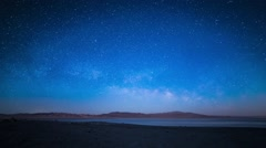 Moonset and milky way rising Stock Footage