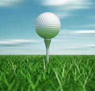 golf ball on tee - stock illustration