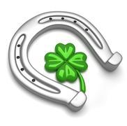 horseshoe and clover - stock illustration