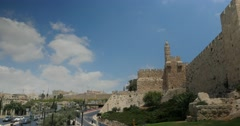 Jerusalem 4K David tower  City walls  pan 24P Stock Footage