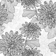 Seamless pattern with decorative gerbera, for invitations, cards, scrapbooking Stock Illustration