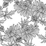 seamless pattern with decorative chrysanthemum, for invitations, cards,scrapbook - stock illustration
