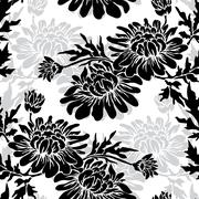 seamless pattern with decorative chrysanthemum,for invitations, cards, scrapbook - stock illustration