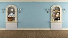 vintage room with arched niche - stock illustration