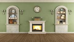 vintage room with niche and fireplace - stock illustration