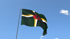 The flag of Dominica Waving on the Wind. Stock Footage