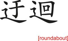 Chinese Sign for roundabout - stock illustration