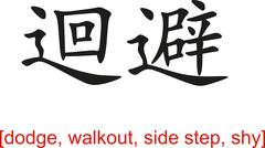 Chinese Sign for dodge, walkout, side step, shy - stock illustration