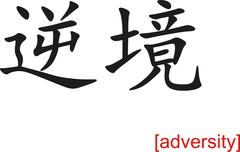Chinese Sign for adversity - stock illustration
