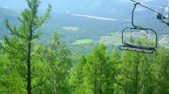 Cableway in Altay mountains. Manzherok mountain Stock Footage
